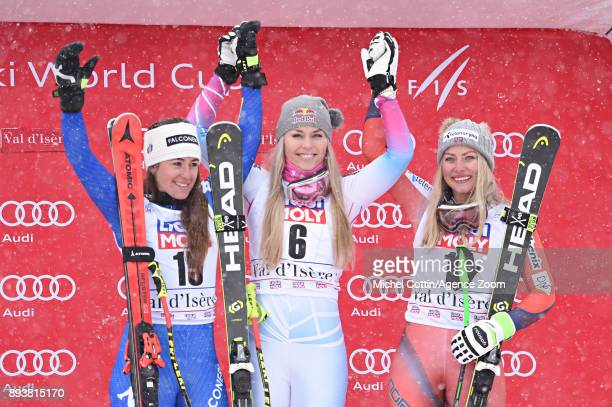 Sofia Goggia of Italy takes 2nd place Lindsey Vonn of USA takes 1st place Ragnhild Mowinckel of Norway takes 3rd place during the Audi FIS Alpine Ski...