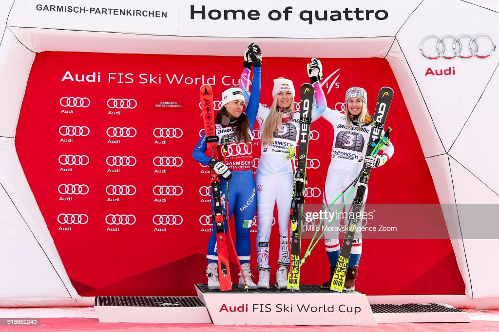 Sofia Goggia of Italy takes 2nd place, Lindsey Vonn of USA takes 1st place, Cornelia Huetter of Austria takes 3rd place during the Audi FIS Alpine Ski World Cup Women's Downhill on February 3, 2018 in Garmisch-Partenkirchen, Germany.
