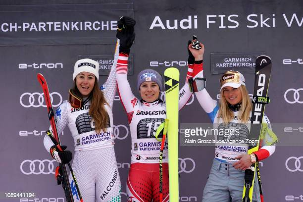 Sofia Goggia of Italy takes 2nd place Nicole Schmidhofer of Austria takes 1st place Lara Gutbehrami of Switzerland takes 3rd place during the Audi...