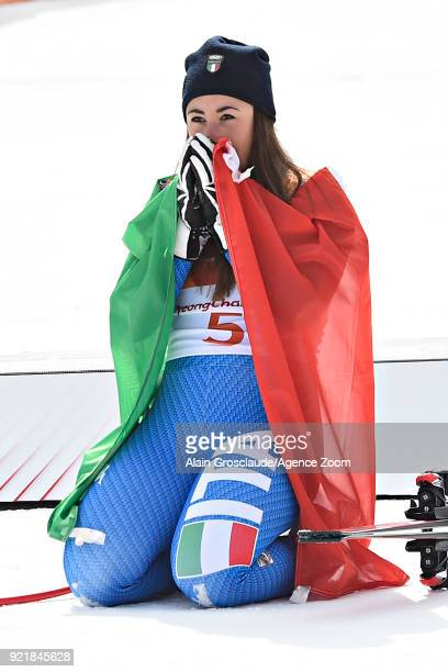 Sofia Goggia of Italy wins the gold medal during the Alpine Skiing Women's Downhill at Jeongseon Alpine Centre on February 21 2018 in Pyeongchanggun...