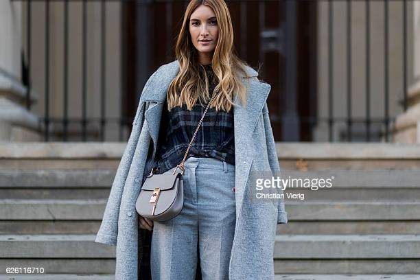 Sofia Grau Fashion Blogger and owner of SCIC Swimwear @shecomesincolors wearing a grey Tommy Hilfiger wool coat a black plaid Zara top grey cropped...