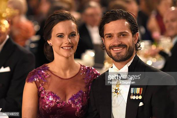 Sofia Hellqvist and Prince Carl Philip of Sweden attend the Nobel Prize Banquet 2014 at City Hall on December 10 2014 in Stockholm Sweden