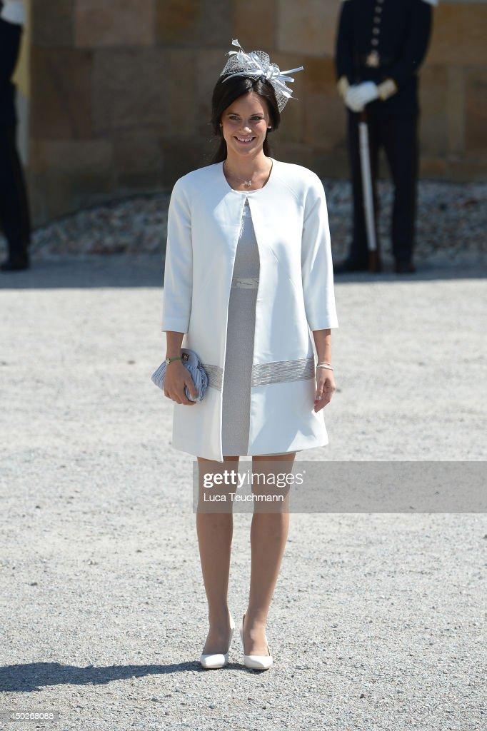 Sofia Hellqvist arrives for Princess Leonore's Royal Christening at Drottningholm Palace Chapel on June 8, 2014 in Stockholm, Sweden.