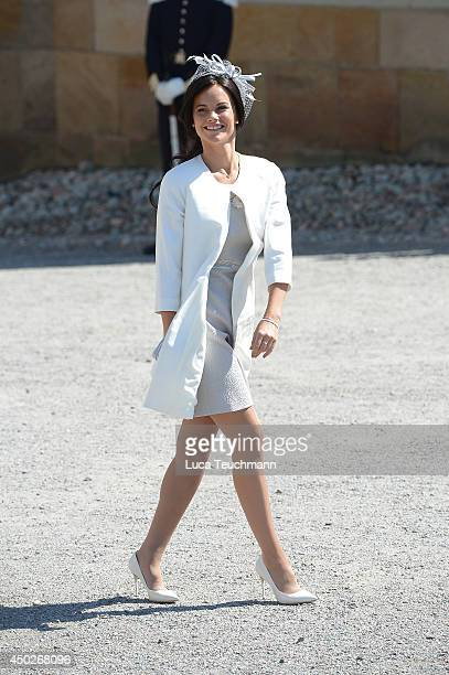 Sofia Hellqvist arrives for Princess Leonore's Royal Christening at Drottningholm Palace Chapel on June 8 2014 in Stockholm Sweden