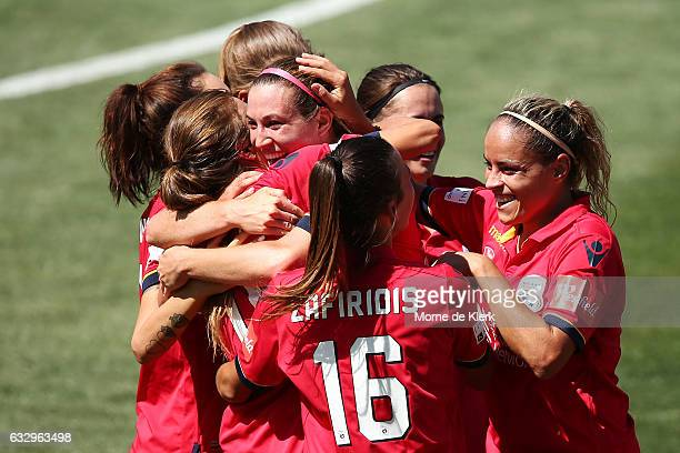 Sofia Huerta of Adelaide United celebrates with teammates after she scored a goal during the round 14 WLeague match between Adelaide United and...