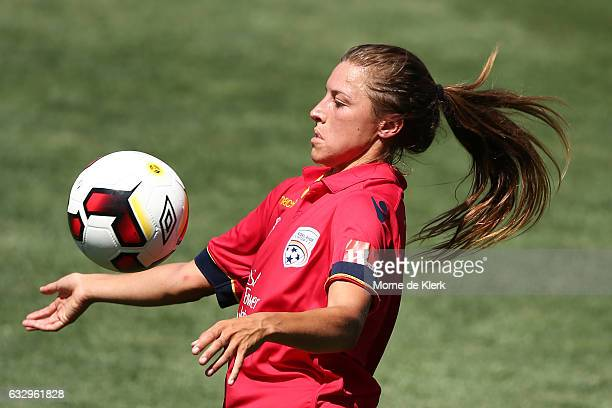 Sofia Huerta of Adelaide United wins the ball during the round 14 WLeague match between Adelaide United and Sydney FC at Coopers Stadium on January...
