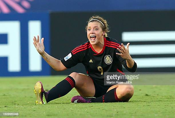 Sofia Huerta of Mexico reacts during the FIFA U20 Women's World Cup Japan 2012 Quarter Final match between Nigeria and Mexico at National Stadium at...