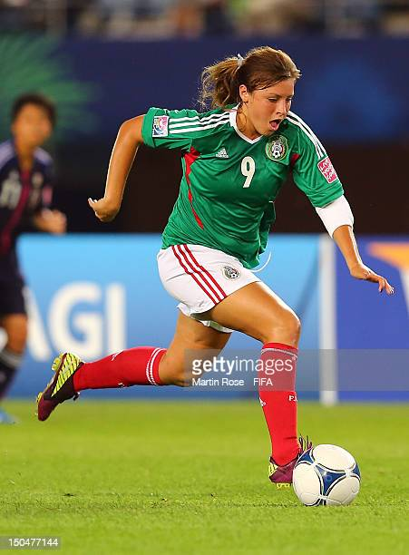 Sofia Huerta of Mexico runs with the ball during the FIFA U20 Women's World Cup 2012 group A match between Japan and Mexico at Miyagi Stadium on...