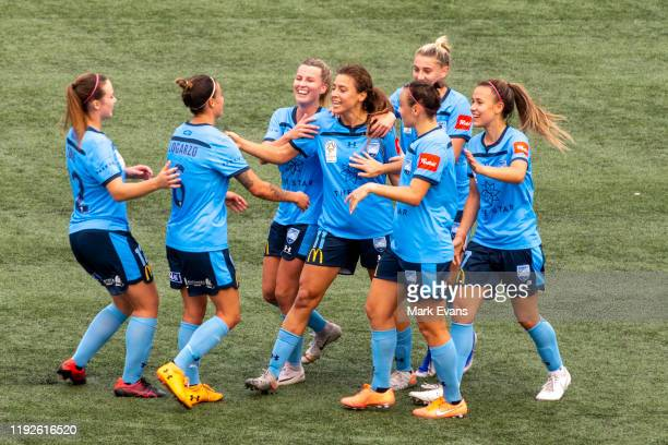 Sofia Huerta of Sydney FC celebrates a goal with team mates during the round four W-League match between Sydney FC and Melbourne City at Cromer Park...