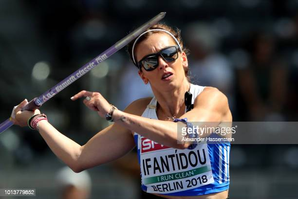 Sofia Ifantidou of Greece competes in the Women's Javelin qualification during day three of the 24th European Athletics Championships at...