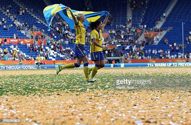 Sofia Jakobsson and Madelaine Edlund of Swed celebrate after the FIFA Women's World Cup 2011 3rd place playoff match between Sweden and France at...