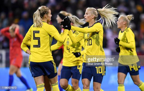 Sofia Jakobsson and Nathalie Bjorn of Sweden celebrate a Swedish goal during a game between Sweden and USWNT at MAPFRE Stadium on November 07, 2019...
