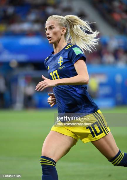 Sofia Jakobsson in action for Sweden during the 2019 FIFA Women's World Cup France Semi Final match between Netherlands and Sweden at Stade de Lyon...
