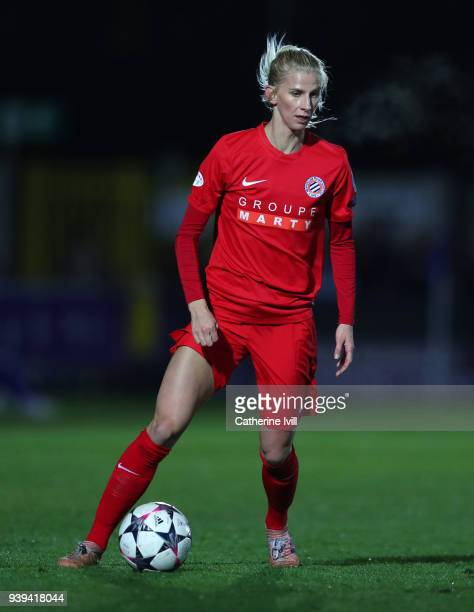Sofia Jakobsson of Montpellier during the UEFA Womens Champions League QuarterFinal Second Leg between Chelsea Ladies and Montpellier at The Cherry...