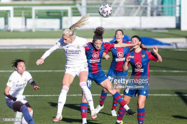 Sofia Jakobsson of Real Madrid and Esther Gonzalez Rodriguez of Levante UD during the Spanish women league, Primera Iberdrola, football match played...