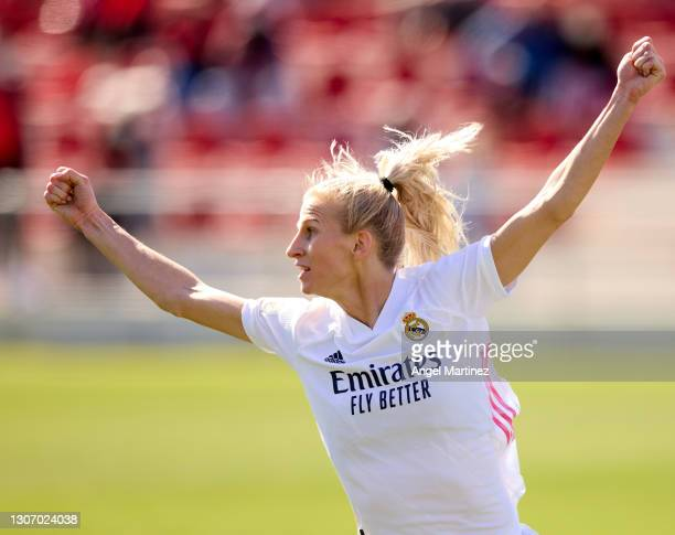 Sofia Jakobsson of Real Madrid celebrates after scoring her side's first goal during the Primera Iberdrola match between Atletico de Madrid and Real...