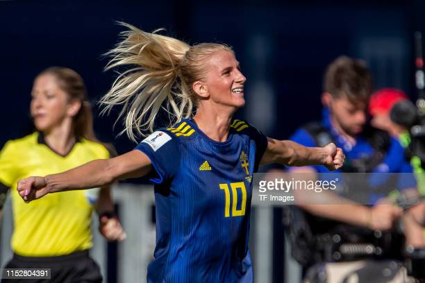 Sofia Jakobsson of Sweden celebrates after scoring her team's first goal during the 2019 FIFA Women's World Cup France Quarter Final match between...