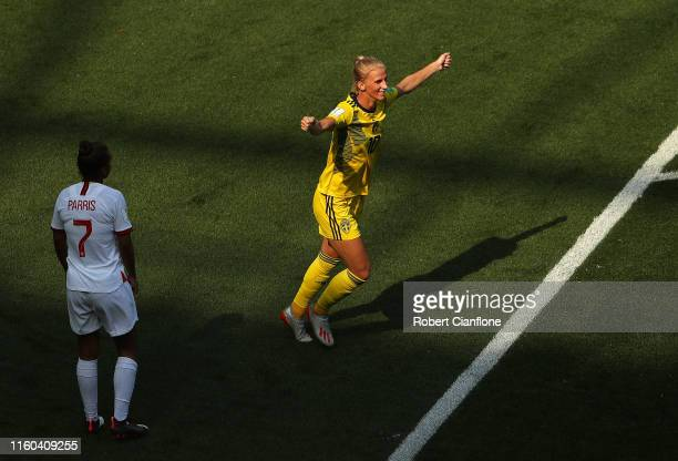 Sofia Jakobsson of Sweden celebrates after scoring her team's second goal during the 2019 FIFA Women's World Cup France 3rd Place Match match between...