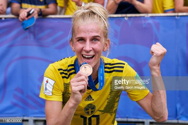 Sofia Jakobsson of Sweden celebrates after winning the 2019 FIFA Women's World Cup France 3rd Place match between England and Sweden at Stade de Nice...