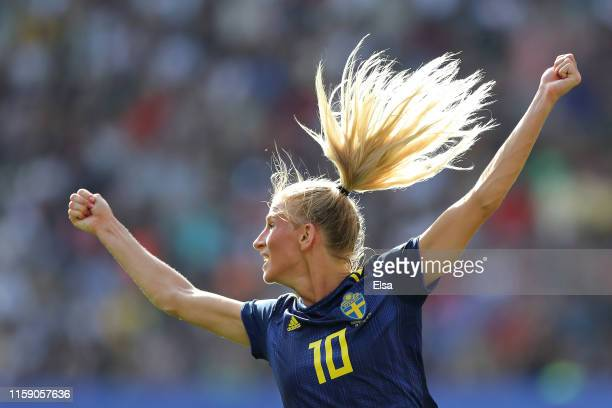 Sofia Jakobsson of Sweden celebrates as she scores her team's first goal during the 2019 FIFA Women's World Cup France Quarter Final match between...