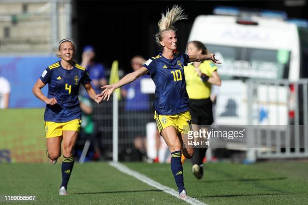 Sofia Jakobsson of Sweden celebrates as she scores her team's first goal with Hanna Glas during the 2019 FIFA Women's World Cup France Quarter Final...