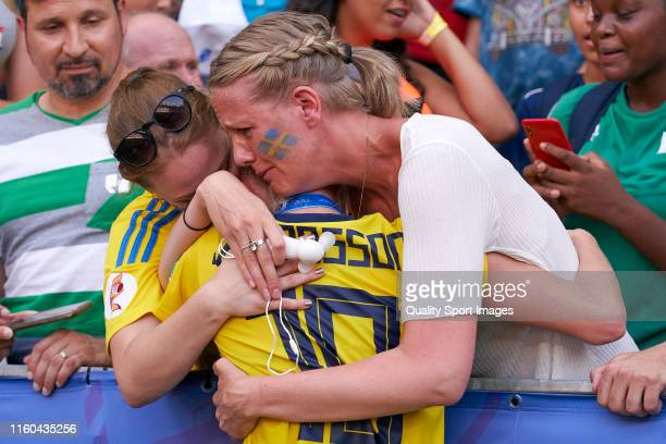 Sofia Jakobsson of Sweden celebrates with relatives and friends third place after the match during the 2019 FIFA Women's World Cup France 3rd Place...