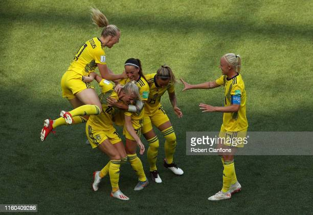 Sofia Jakobsson of Sweden celebrates with teammates after scoring her team's second goal during the 2019 FIFA Women's World Cup France 3rd Place...