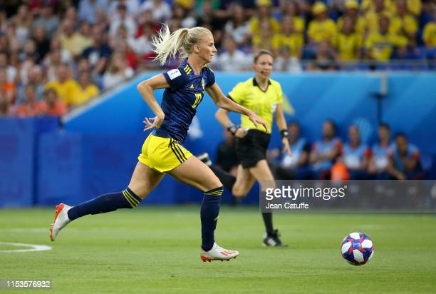 Sofia Jakobsson of Sweden during the 2019 FIFA Women's World Cup France Semi Final match between Netherlands and Sweden at Groupama Stadium on July 3...