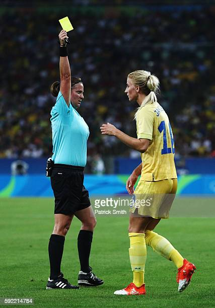 Sofia Jakobsson of Sweden is booked during the Women's Olympic Gold Medal match between Sweden and Germany at Maracana Stadium on August 19, 2016 in...