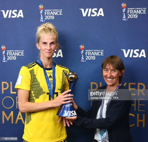 Sofia Jakobsson of Sweden is presented with her VISA Player of the Match award following the 2019 FIFA Women's World Cup France 3rd Place Match match...