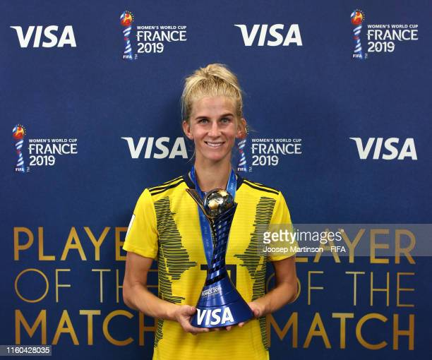 Sofia Jakobsson of Sweden poses with her VISA Player of the Match award following the 2019 FIFA Women's World Cup France 3rd Place Match match...