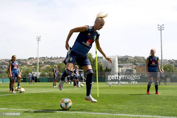 Sofia Jakobsson of Sweden runs through drills during a training session at Stade Charles-Ehrmann on June 14, 2019 in Nice, France.