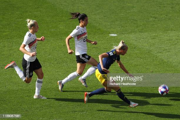 Sofia Jakobsson of Sweden scores her team's first goal during the 2019 FIFA Women's World Cup France Quarter Final match between Germany and Sweden...