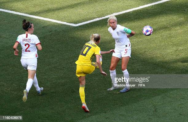 Sofia Jakobsson of Sweden scores her team's second goal during the 2019 FIFA Women's World Cup France 3rd Place Match match between England and...