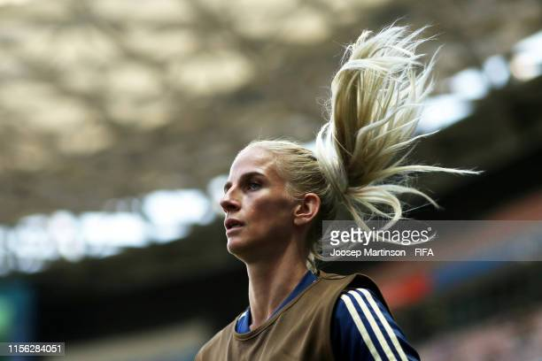 Sofia Jakobsson of Sweden warms up during the 2019 FIFA Women's World Cup France group F match between Sweden and Thailand at Stade de Nice on June...