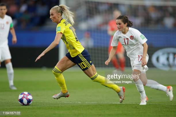 Sofia Jakobsson of Sweden Women Jessie Fleming of Canada Women during the World Cup Women match between Sweden v Canada at the Parc des Princes on...