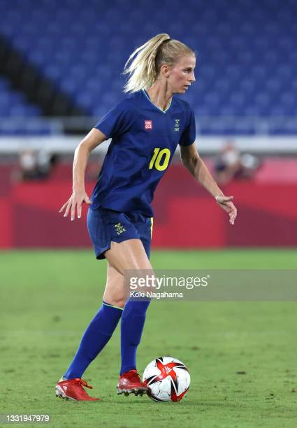 Sofia Jakobsson of Team Sweden runs with the ball during the Women's Semi-Final match between Australia and Sweden on day ten of the Tokyo 2020...