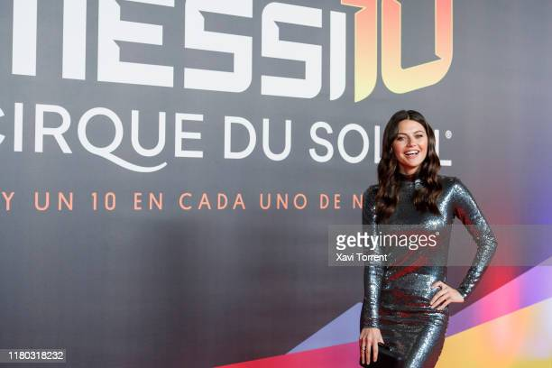 Sofia Jimenez poses on the red carpet during the premiere of 'Messi 10' by Cirque du Soleil on October 10 2019 in Barcelona Spain