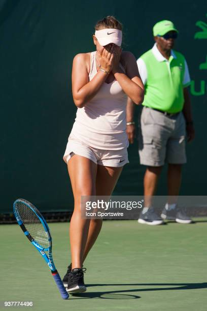 Sofia Kenin in action on Day 5 of the Miami Open at Crandon Park Tennis Center on March 23 in Key Biscayne FL