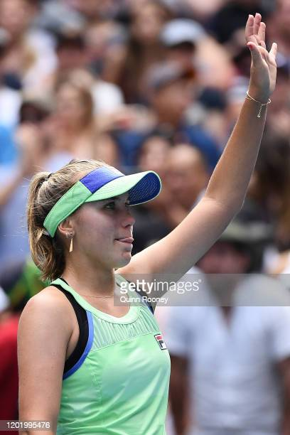 Sofia Kenin of the United States acknowledges the crowd after winning her Women's Singles fourth round match against Coco Gauff of the United States...