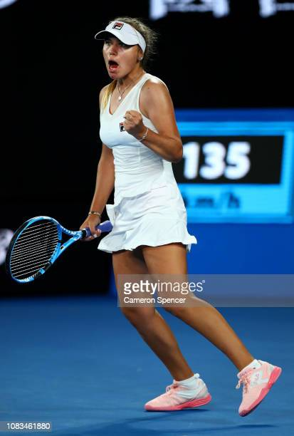 Sofia Kenin of the United States celebrates a point in her second round match against Simona Halep of Romania during day four of the 2019 Australian...