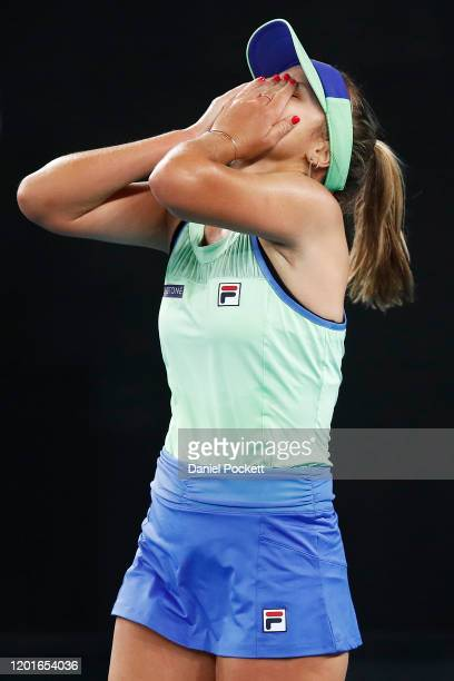 Sofia Kenin of the United States celebrates after winning her third round match against Shuai Zhang of China on day five of the 2020 Australian Open...