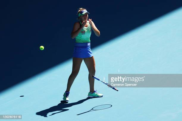 Sofia Kenin of the United States celebrates after winning match point during her Women's Singles Semifinal match against Ashleigh Barty of Australia...