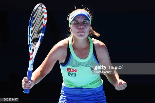 Sofia Kenin of the United States celebrates after winning set point during her Women's Singles Semifinal match against Ashleigh Barty of Australia on...