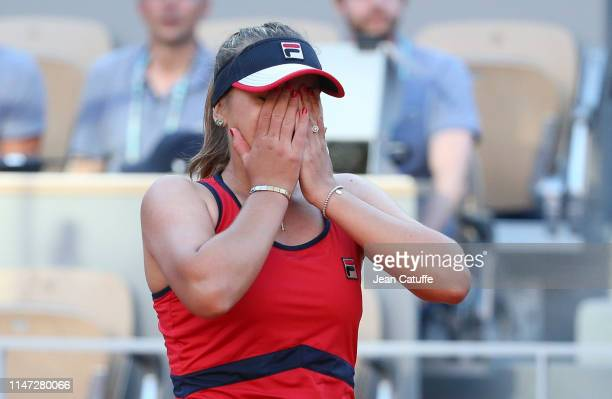 Sofia Kenin of the United States celebrates her third round victory against Serena Williams of the United States during day 7 of the 2019 French Open...