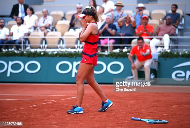 Sofia Kenin of The United States celebrates victory during her ladies singles third round match against Serena Williams of The United States during...