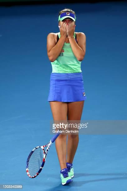 Sofia Kenin of the United States celebrates winning championship point during her Women's SinglesFinal match against Garbine Muguruza of Spain on...