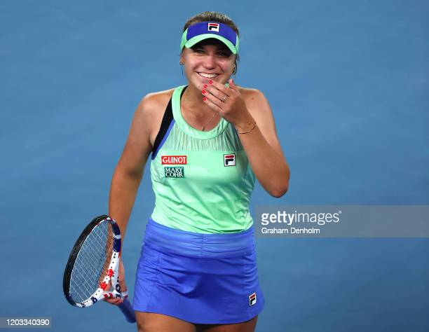 Sofia Kenin of the United States celebrates winning championship point during her Women's Singles Final match against Garbine Muguruza of Spain on...
