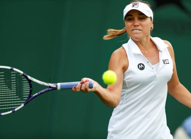 Sofia Kenin of the United States competes during the women's singles first round match between Sofia Kenin of the United States and Wang Xinyu of...