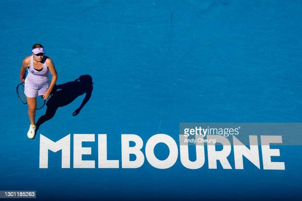 Sofia Kenin of The United States of America looks on in her Women's Singles first round match against Maddison Inglis of Australia during day two of...